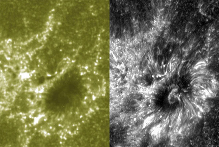 A comparison between the higher resolution provided by the new IRIS solar observatory (right) and the SDO (Solar Dynamics Observatory) spacecraft (left)